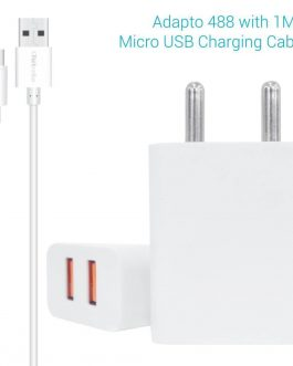Portronics Adapto 488 Quick Charger USB Wall Adapter with 2.4A Quick Charging Dual USB Port + Micro USB Charging Cable for All iOS & Android Devices (White)